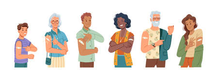 Happy vaccinated people showing ok and thumb up gesture, flat cartoon characters set. Vector young and senior man and woman smiling after vaccination, plaster on their shoulders. COVID-19 vaccine.