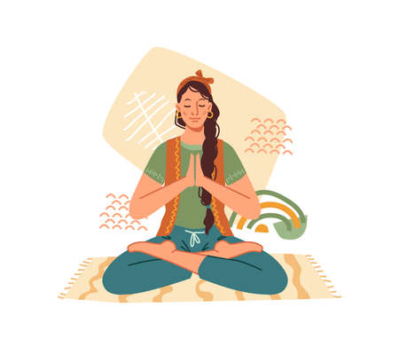 Woman meditate in yoga lotus pose isolated cartoon character meditating on mat. Vector concept of meditation, relax and recreation, healthy lifestyle. Indian lady sitting on rag, relaxation exercise