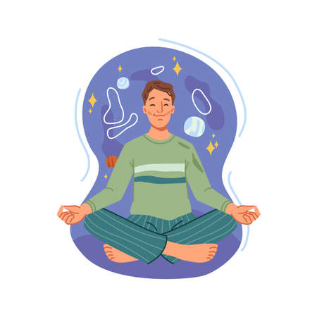 Man with open chakra meditating in lotus pose, balance and spiritual energy. Vector happy person on meditation, relaxation and recreation, healthy lifestyle exercise, guy sitting in yoga position