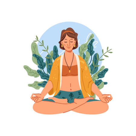 Yoga meditation, woman sits in lotus pose meditating. Vector happy person on meditation, balance and spiritual energy, stress control. Relaxation and recreation, healthy lifestyle, girl on yoga