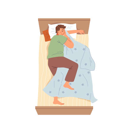 Young man sleeping in bed at home, bedtime and relaxation at night. Vector cosy bedding, flat cartoon character sleep on pillow under blanket, adult guy rest alone in bedroom, male fall asleep