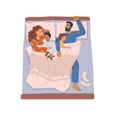 Happy parents and children sleep in one bed together, flat cartoon characters. Vector mother, father, son and daughter in comfortable bedding and pajamas, rest at night time, relaxation and rest 矢量图像