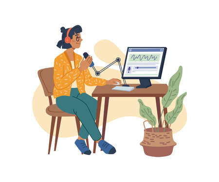 Podcast or content creation, blogger making video or streaming. Vector woman recording podcast for network followers and subscribers. Female character sit at table with computer, cartoon influencer