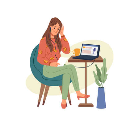 Working or studying at home or office, woman sitting on chair and listening podcast on laptop. Vector flat cartoon girl in headphones with notebook, listen to music, studying or video calling