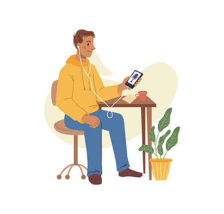Man listening podcast audio interview on smartphone, flat cartoon character. Vector working or studying at home or office, male in headphones sitting on chair with notebook, listen to music