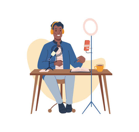 Podcast creation, blogger making audio or video, streaming online. Vector man recording content for network followers and subscribers. Male character sit at table with computer, cartoon influencer