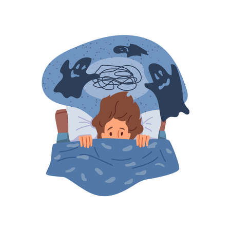 Female personage having insomnia because of bad dreams and nightmares. Thoughts in head, girl pulling blanket and afraid. Frightened and sleepless lady. Cartoon character in flat style vector