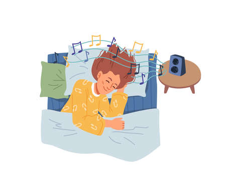 Listening to calm music helping to fall asleep, sleep problem solution. Female personage in bad with device on bedside table playing melodies and sounds. Cartoon character in flat style vector