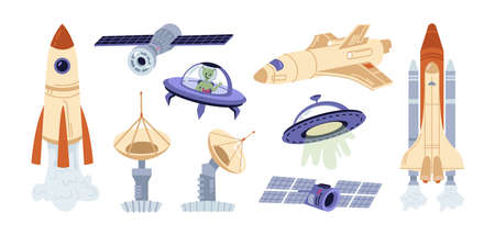 Galaxy and outer space flying objects and spacecrafts, spaceship and saucers of aliens. Futuristic transport for universal travel, satellites and shuttles, rockets. Cartoon illustration in flat vector 矢量图像