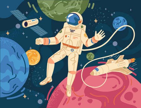 Spaceman scientific hero in astronaut in cosmos on background of color cartoon planets. Vector astronomy explorer in space suit and helmet, exploration of galaxy universe, spaceship craft and rocket