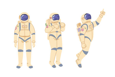 Outer space exploration and discoveries of universe and galaxy. Cosmonaut in costume for travel. Astronaut in spacesuit preserving oxygen for breathing. Cartoon character in flat style vector 矢量图像