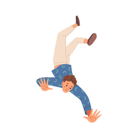 Man falling isolated frightened unhappy person in emotional stress fall, hazard or accident, flat cartoon character. Vector failure of sad unhappy guy, alone scared male jumping down