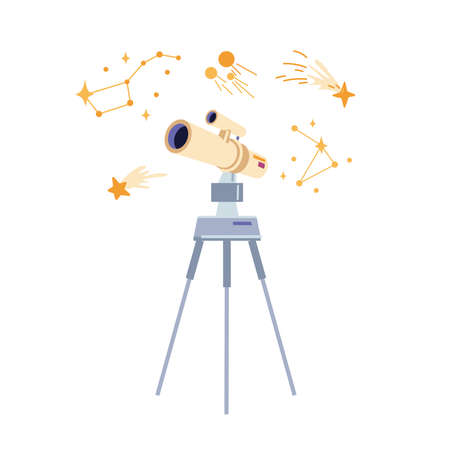 Telescope and stars, education and astronomy element isolated flat cartoon icon. Vector spyglass and study of outer space, look through astronomical tube on galaxy planets and comets, illustration 矢量图像