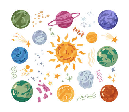Celestial bodies and planets, solar system and space asteroids and meteors. Planetarium and galaxy adventures, glowing sun and unknown places to discover. Cartoon character in flat style vector