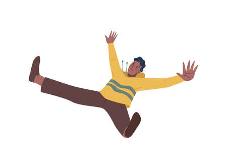 Sad frightened person falling down, failure, unexpected fall, despair or broken heart concept isolated flat cartoon character. Vector unhappy person in emotional stress fall, hazard or accident