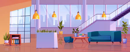 Business center interior, empty office open space with public place for rest. Vector sofa and table with folders, waiting hall with panoramic windows, loft lamps and ladder upstairs, potted plants