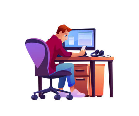 Office worker at computer uses smartphone isolated cartoon character. Vector back view of man sitting at table with monitor on desktop. Businessman or programmer at workplace, employee with phone
