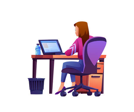 Woman sitting at workplace with laptop on table and water bottle on desktop isolated cartoon character. Vector back view of businesswoman at computer, employee freelancer, waste bin on floor 矢量图像