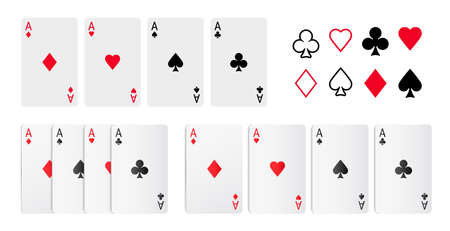 Playing card, aces clubs and diamonds, hearts and spades poker game cards flat and realistic design set. Vector casino deck, leisure hobby entertainment gambling game, red and black suits 矢量图像