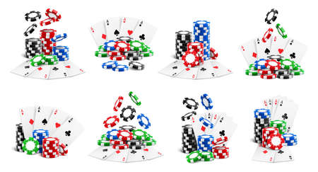 Casino set, falling chips and flying cards, heaps and stacks isolated realistic 3D icons. Vector gambling game playing tokens, stacks, poker aces clubs and diamonds, hearts and spades, online gaming
