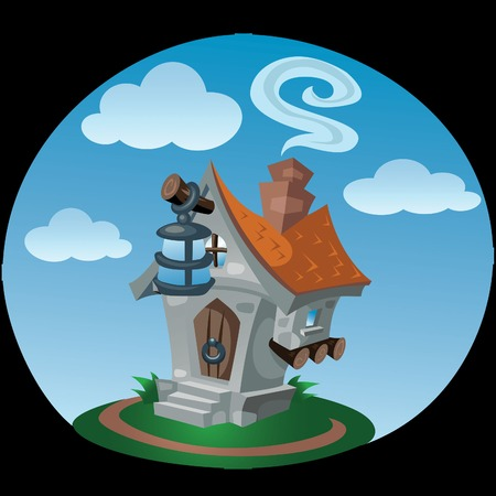 front porch: small toy house with a lantern in front of the porch, the chimney is smoke in the sky   floating clouds, summer day. Illustration