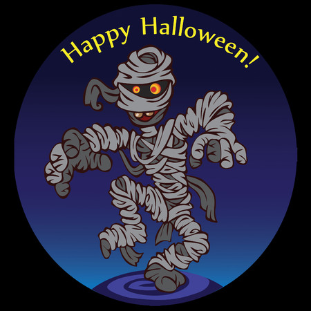 dark night, we have a looming mummy, her rags fluttering in the wind. Happy Halloween. Vector