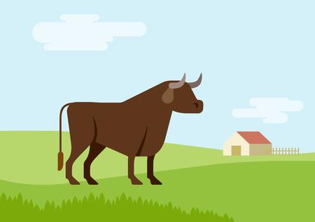 bull cartoon: Bull farm grass field habitat background flat design cartoon vector animals. Flat zoo nature children collection.