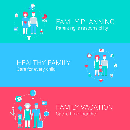 child care: Family concept flat icons set of planning parenting health care child vacation and vector web banners illustration print materials website click infographics elements collection. Illustration