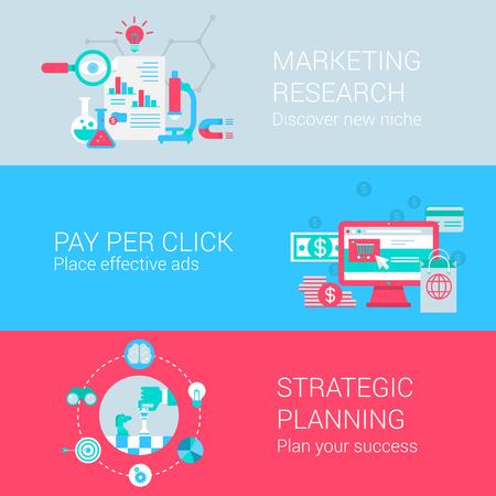 Marketing onderzoek pay per click advertentie strategische planning concept van vlakke pictogrammen instellen vector webbanners illustratie drukwerk website klik infographics elementen collectie.