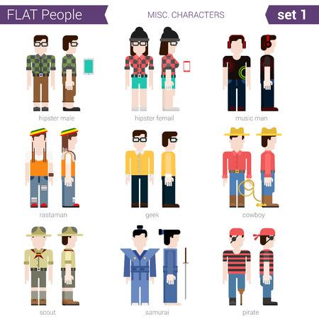 rastaman: Flat style design people vector character avatar set. Hipster, geek, cowboy, music, rastaman, samurai, pirate, scout. Flat people collection.
