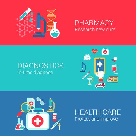 farmacia: Iconos planos Farmacia concepto de diagnóstico de la salud establecidos del tratamiento cura la investigación diagnosticar carry y vectores web banners materiales impresos ilustración website clic colección infografías elementos.