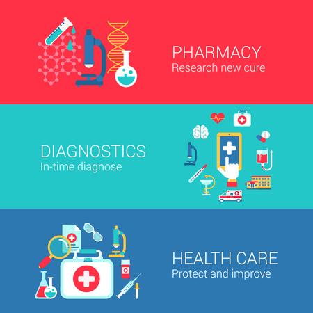 Pharmacy diagnostics healthcare concept flat icons set of research cure treatment diagnose carry and vector web banners illustration print materials website click infographics elements collection. Ilustração