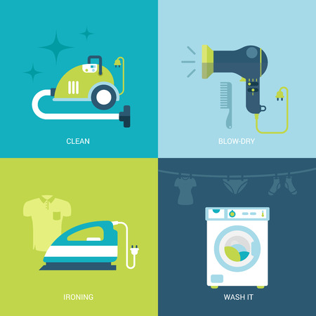 vacuum cleaner: Flat design vector illustration concept set of electronics and entertainment icons. Vacuum cleaner, blow hair dryer, iron, washing machine. Big flat collection. Illustration