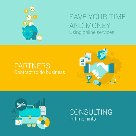 finances: Business money finance concept flat icons set piggy bank savings time coins partners handshake deal partnership briefcase flight vector web illustration website click infographics elements collection.