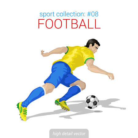 high detail: Sportsmen vector collection. Football player forward offense. Sportsman high detail illustration. Illustration