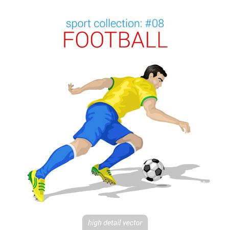 jugador de futbol: Vector de recogida de los deportistas. Jugador de fútbol ofensa hacia adelante. Deportista ilustración alto detalle.