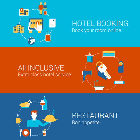 inclusive: Hotel booking restaurant travel business concept flat icons set of hotels online book all inclusive service and vector web illustration website click infographics elements