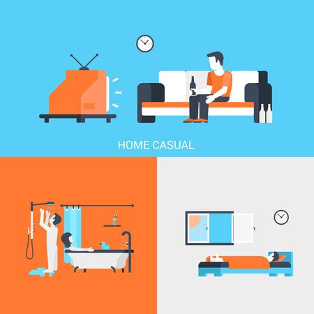 letti: Icone piane concetto di lifestyle insieme di casa persone svago casuale tv birra camera bagno paio sonno e sito clicca per infografica progettazione illustrazione vettoriale web elementi.