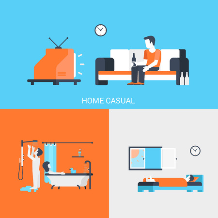 durmiendo: Iconos planos concepto de estilo de vida conjunto de personas de ocio casa Pareja sueño ocasional tv cerveza dormitorio baño y el sitio web clic para el diseño de infografías ilustración vectorial elementos de la web.