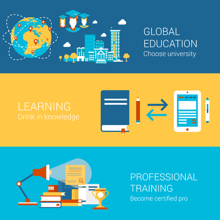online education: Education world university study learning professional training concept flat icons set  certification and vector web banners illustration print materials website click infographics elements collection.