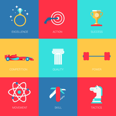 features: Flat human smart features sports competition design icons set excellence action success quality power movement skill tactics. Modern web click infographics style vector illustration concept collection.