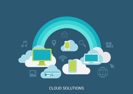 플랫 스타일 벡터 일러스트 레이 션 클라우드 컴퓨팅 솔루션 기술 개념 콜라주입니다. 무지개 구름 컴퓨터 태블릿 저장 미디어 파일. 큰 평면 개념 컬