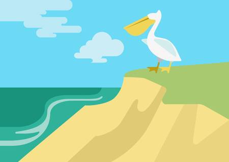 river bank: Pelican on the beach river bank habitat flat design cartoon vector wild animals birds. Flat zoo nature children collection.