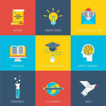 brain research: Flat education smart idea research design icons set degree graduate distance online tutorial brain training e-learning skill modern web click infographics style vector illustration concept collection. Illustration