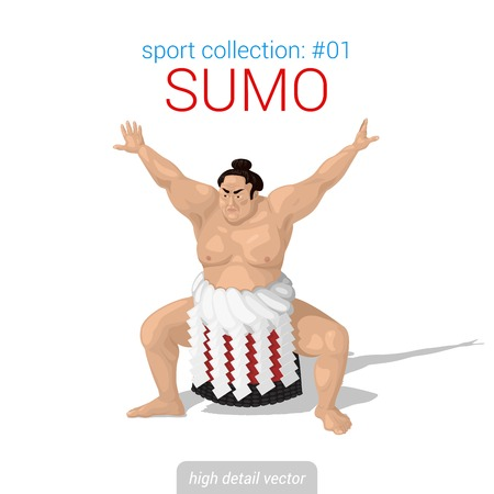 high detail: Sportsmen vector collection. Sumo fighter. Sportsman high detail illustration. Illustration