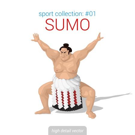 Sportsmen vector collection. Sumo fighter. Sportsman high detail illustration. Vettoriali