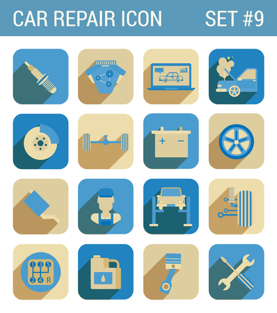 breakdown: Car repair service flat icons set spark repair engine chassis suspension battery brake wheel drive tow mechanic exhaust oil gearbox web click infographics style vector illustration concept collection. Illustration