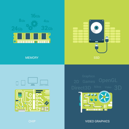 Flat design vector illustration concept computer spare parts electronics. Memory chips, ssd, hdd, video card graphics. Big flat icons collection. Illustration