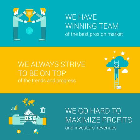 フラット アイコン セット プロ優勝チームの努力上移動ハード会社モットー コンセプトは、利益金とベクトル web バナー イラスト印刷物 web サイト