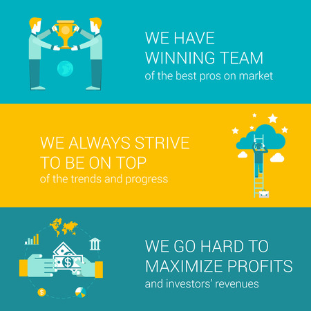 motto: Company motto concept flat icons set of winning team pro strive top go hard maximize profit money and vector web banners illustration print materials website click infographics elements collection.